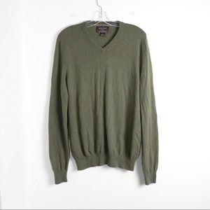 Black&Brown 2-ply cashmere green men's v-neck soft